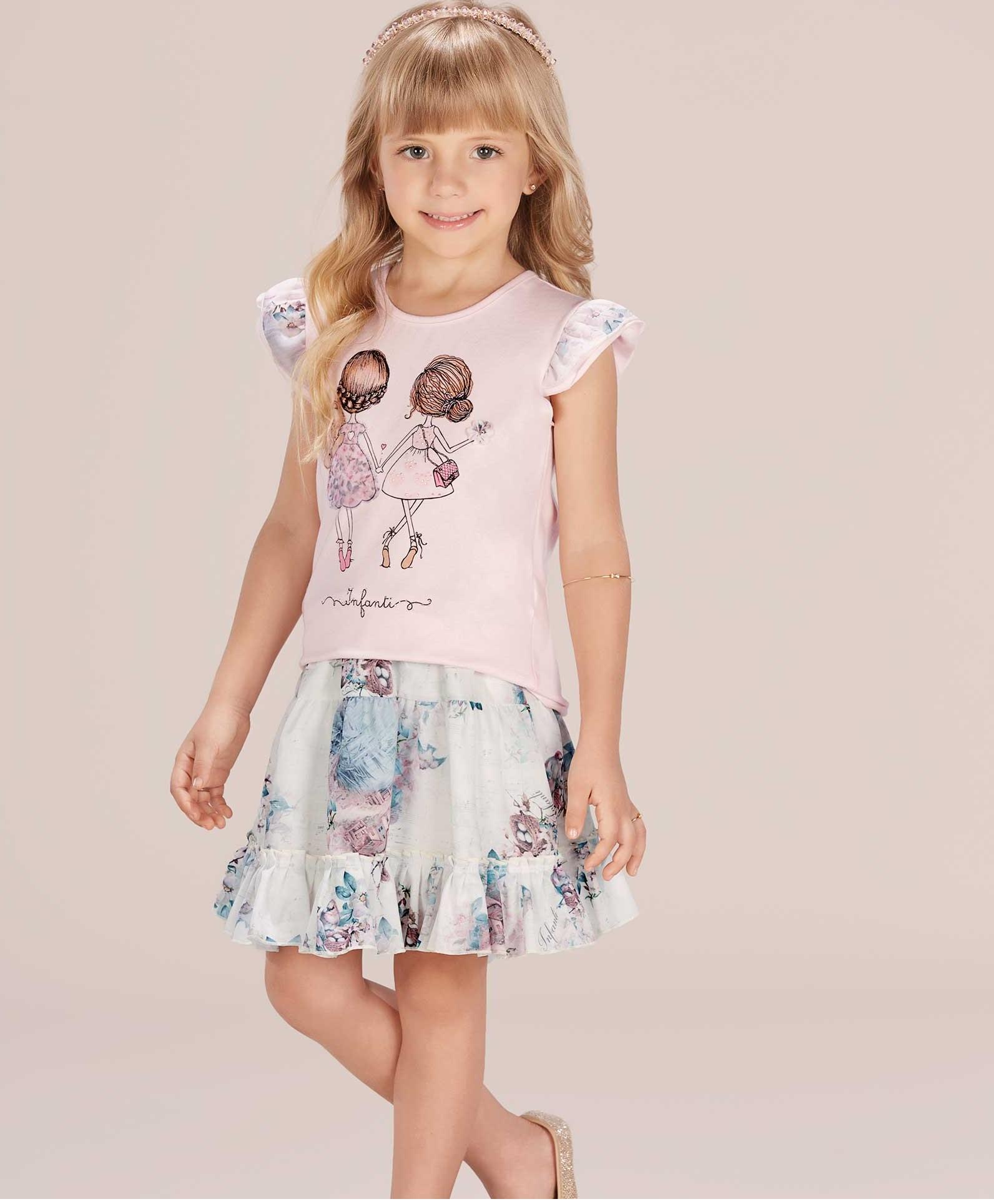 Conjunto Infantil Saia Floral e Blusa Infanti