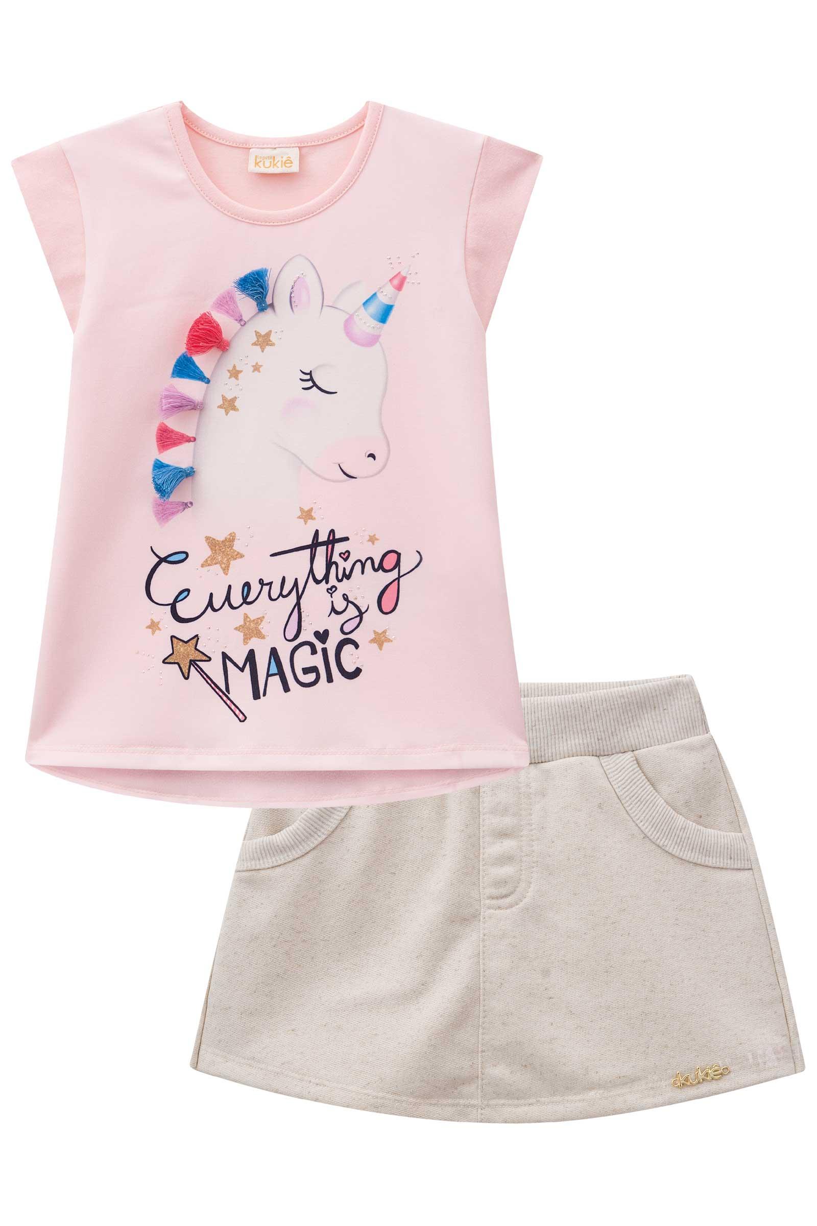 Conjunto Infantil Kukie Short Saia Unicornio