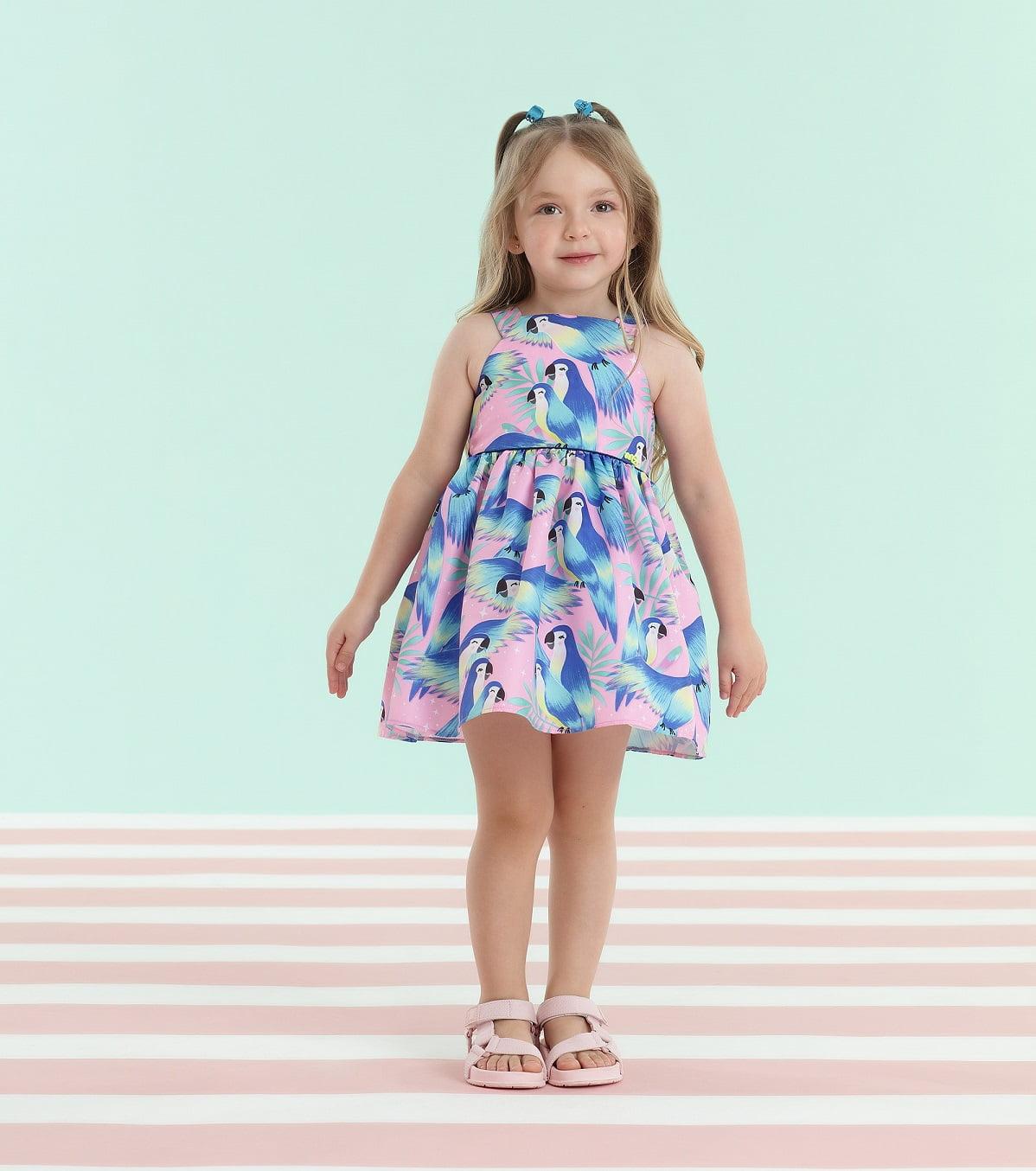 Vestido Mon Sucré Verão Rosa Tropical Passaro