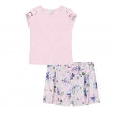 Conjunto Infantil Shorts Floral e Blusa Rosa Infanti