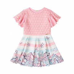 Vestido Infantil Renda rosa e borboletas - Infanti