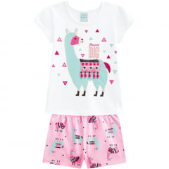 Pijama Infantil Branco Lhama Kyly